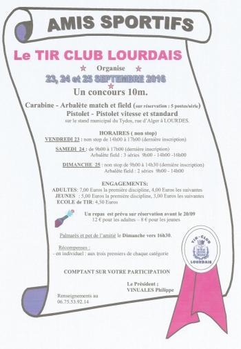 Concours Tir Club Lourdais 23 24 et 25 sept