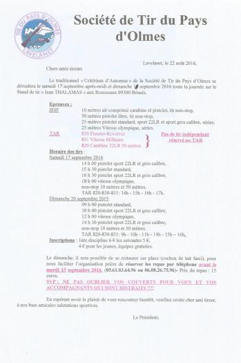 Concours tir du pays d olmes 17et18 sept