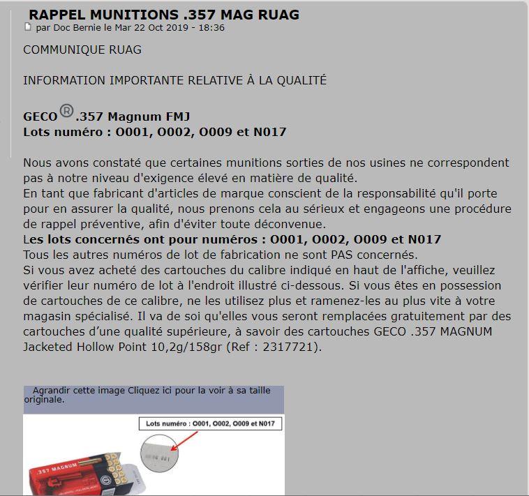 Rappel munitions 357